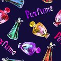 Perfume bottles, hand painted watercolor illustration, inscription `Parfume` in French, seamless pattern on dark blue Royalty Free Stock Photo