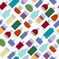 Perfume bottles icons seamless pattern. Eau de parfum.