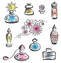 Perfume bottles vector set of design elements Royalty Free Stock Photo
