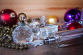 Perfume and Christmas decorations Royalty Free Stock Photo