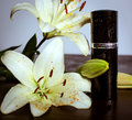 Perfume and flowers wet of orchids Stock Images