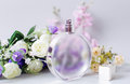Perfume and pink flower Royalty Free Stock Photo