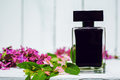Perfume with punk flowers Royalty Free Stock Photo