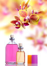 Perfume and yellow orchid Royalty Free Stock Images