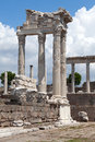 Pergamon temple of trajan at acropolis of Stock Photography