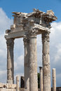 Pergamon temple of trajan at acropolis of Stock Image