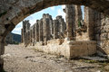 Perge in turkey the ruins of the ancient town of Royalty Free Stock Photo