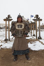 Period dressed Mongolian warrior in front of Ger Royalty Free Stock Photography