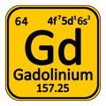 Periodic table element gadolinium icon. Royalty Free Stock Photo