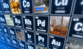 Periodic table of elements and laboratory tools. Science concept. Royalty Free Stock Photo