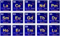 Periodic table lanthanides chemical elements of from Stock Photo