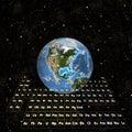 PeriodicTable - Aarde in ruimte-Westelijke Hemisfeer Stock Afbeelding