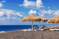 Perissa beach black beach santorini greece Stock Photo