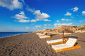 Perissa beach black beach on santorini island greece Royalty Free Stock Photo