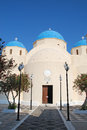 Perissa orthodox church in santorini island greece Stock Photo