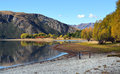 Perkins bay in autumn wanaka new zealand on the shores of beautiful lake Stock Image