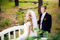Perky bride and groom in love the happiest day of your Stock Photos