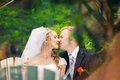 Perky bride and groom in love the happiest day of your Royalty Free Stock Image