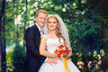 Perky bride and groom in love the happiest day of your Royalty Free Stock Photo