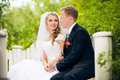 Perky bride and groom in love the happiest day of your Royalty Free Stock Images