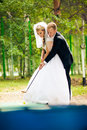 Perky bride and groom in love the happiest day of your Stock Photo