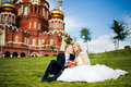 Perky bride and groom in love the happiest day of your Royalty Free Stock Photos