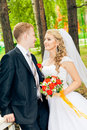 Perky bride and groom in love the happiest day of your Stock Images
