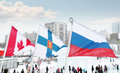 Perm russia jan flags of participating countries canada finland winter olympic games in ice town created in honor Royalty Free Stock Photos