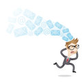 Permanent availability businessman email vector illustration of a cartoon character running overwhelmed by emails and Royalty Free Stock Photo