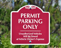 Permit parking only a red sign reading Stock Photos