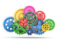 Perpetuum mobile color gears on white isolated background d Stock Photos