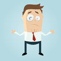 Perplexed cartoon man funny illustration of a Royalty Free Stock Photo