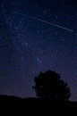 Perseid meteor shower streaking across the starry sky in descanso california Stock Photography
