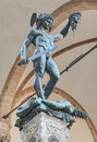 Perseus with the head of medusa antique bronze statue by benvenuto cellini in florence italy Royalty Free Stock Image
