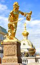 Perseus with the head of medusa golden statue in grand cascade fountain in peterhof grand palace saint petersburg Stock Image