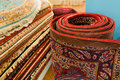 Persian carpets on display in a carpet store Royalty Free Stock Photos