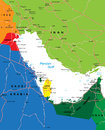 Persian Gulf region map Royalty Free Stock Images
