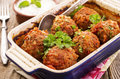 Persian meatballs in a casserole dish Royalty Free Stock Image