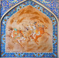 Persian painting on colorful tile with riders play polo on square Royalty Free Stock Photo