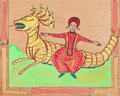 Persian prince flying on dragon historical clothes arab stylized under medieval miniatures Royalty Free Stock Photos