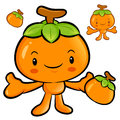 The persimmon mascot has been welcomed with both hands fruit ch character design series Royalty Free Stock Photos