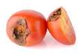 Persimmon ripe persimmon slice isolated white background Royalty Free Stock Photo