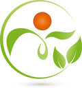 Person as plant and leaves, naturopath and wellness logo