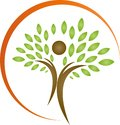 Person as tree and sun logo, Person as tree and sun, person as tree logo, gardener logo