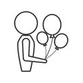 person with balloons icon design