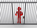 Person behind bars as a prisoner d is imprisoned and prison Royalty Free Stock Image