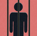 Person behind bars - prisoner Royalty Free Stock Photo