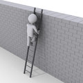 Person climbing ladder over a wall Royalty Free Stock Photo