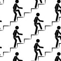 Person climbs up the stairs seamless pattern Royalty Free Stock Photo