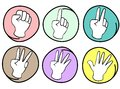 Person Counting Hands 0 to 5 on Round Background Stock Image